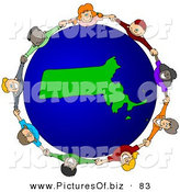 Vector Clipart of a Ring of Children Holding Hands Around a Massachusetts Globe by Djart