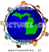 Vector Clipart of a Ring of Children Holding Hands Around a Michigan Globe by Djart