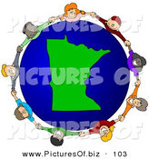 Vector Clipart of a Ring of Children Holding Hands Around a Minnesota Globe by Djart