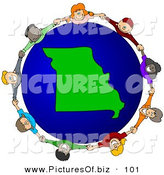 Vector Clipart of a Ring of Children Holding Hands Around a Missouri Globe by Djart