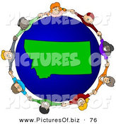Vector Clipart of a Ring of Children Holding Hands Around a Montana Globe by Djart