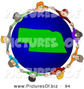 April 23rd, 2013: Vector Clipart of a Ring of Children Holding Hands Around a Nebraska Globe by Djart