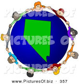 Vector Clipart of a Ring of Children Holding Hands Around a Nevada Globe by Djart