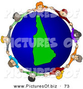 Vector Clipart of a Ring of Children Holding Hands Around a New Hampshire Globe by Djart