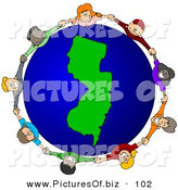 Vector Clipart of a Ring of Children Holding Hands Around a New Jersey Globe by Djart