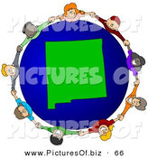 Vector Clipart of a Ring of Children Holding Hands Around a New Mexico Globe by Djart