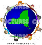 Vector Clipart of a Ring of Children Holding Hands Around a New York Globe by Djart