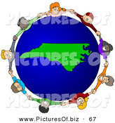 Vector Clipart of a Ring of Children Holding Hands Around a North Carolina Globe by Djart