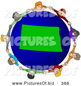 Vector Clipart of a Ring of Children Holding Hands Around a North Dakota Globe by Djart