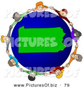 Vector Clipart of a Ring of Children Holding Hands Around a Pennsylvania Globe by Djart