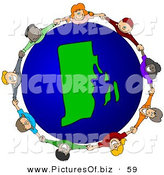 Vector Clipart of a Ring of Children Holding Hands Around a Rhode Island Globe by Djart