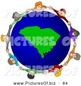 Vector Clipart of a Ring of Children Holding Hands Around a South Carolina Globe by Djart