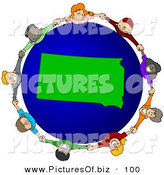 Vector Clipart of a Ring of Children Holding Hands Around a South Dakota Globe by Djart