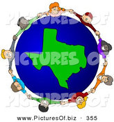 February 14th, 2013: Vector Clipart of a Ring of Children Holding Hands Around a Texas Globe by Djart