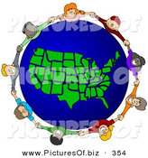 Vector Clipart of a Ring of Children Holding Hands Around a United States of America Globe by Djart