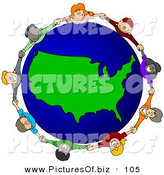 Vector Clipart of a Ring of Children Holding Hands Around a USA Globe by Djart