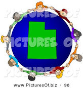 Vector Clipart of a Ring of Children Holding Hands Around a Utah Globe by Djart