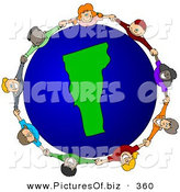 Vector Clipart of a Ring of Children Holding Hands Around a Vermont Globe by Djart