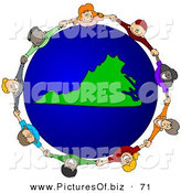 Vector Clipart of a Ring of Children Holding Hands Around a Virginia Globe by Djart
