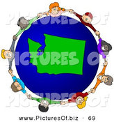 Vector Clipart of a Ring of Children Holding Hands Around a Washington Globe by Djart