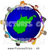 Vector Clipart of a Ring of Children Holding Hands Around a West Virginia Globe by Djart