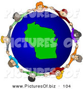 Vector Clipart of a Ring of Children Holding Hands Around a Wisconsin Globe by Djart
