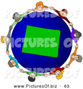 Vector Clipart of a Ring of Children Holding Hands Around a Wyoming Globe by Djart