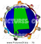 Vector Clipart of a Ring of Children Holding Hands Around an Alabama Globe by Djart