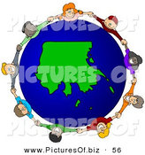 Vector Clipart of a Ring of Children Holding Hands Around an Alaska Globe by Djart