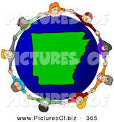Vector Clipart of a Ring of Children Holding Hands Around an Arkansas Globe by Djart