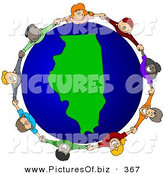 Vector Clipart of a Ring of Children Holding Hands Around an Illinois Globe by Djart