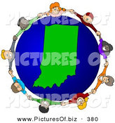 Vector Clipart of a Ring of Children Holding Hands Around an Indiana Globe by Djart