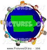 Vector Clipart of a Ring of Children Holding Hands Around an Iowa Globe by Djart