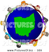Vector Clipart of a Ring of Children Holding Hands Around an Ohio Globe by Djart