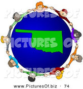 Vector Clipart of a Ring of Children Holding Hands Around an Oklahoma Globe by Djart