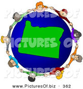 Vector Clipart of a Ring of Children Holding Hands Around an Oregon Globe by Djart