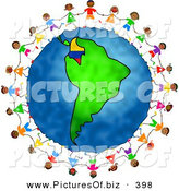 Vector Clipart of a Ring of Playful Children Holding Hands and Running Around the Globe Featuring Colombia by Prawny