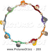 Vector Clipart of a Ring or Circle of Diverse Happy Cartoon Children Holding Hands and Looking up by Djart