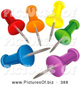 Vector Clipart of a Set of Colorful Push Pins with Their Points in the Center by Dero