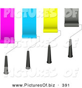 October 11th, 2012: Vector Clipart of a Set of Four Rolling Paint Brushes Painting Pink, Blue, Yellow and Black Strips on a Wall by KJ Pargeter