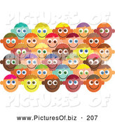 Vector Clipart of a Set of Happy Diverse Faces by Prawny