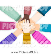 Vector Clipart of a Stack of Diverse Hands by BNP Design Studio