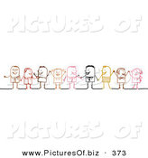 Vector Clipart of a Stick Figure People Character Diverse Business Team Standing by NL Shop