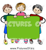 May 23rd, 2014: Vector Clipart of a Stick Kids Standing Behind a Blank Banner by BNP Design Studio