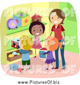 Vector Clipart of a Stick Students Picking up Toys by BNP Design Studio
