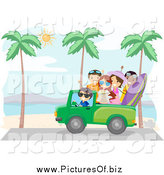 Vector Clipart of a Summer Friends Driving Along a Beach by BNP Design Studio