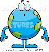 Vector Clipart of a Surprised Earth Globe Gasping by Cory Thoman