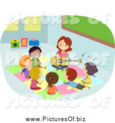Vector Clipart of a Teacher Playing a Guitar for Diverse Stick Students by BNP Design Studio