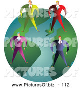 Vector Clipart of a Team of Businessmen Standing on a Green Globe by Prawny