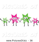 Vector Clipart of a Team of Colorful Smiling Stars Holding Hands by Prawny